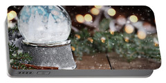 Silver Snow Globe With White Christmas Trees Portable Battery Charger
