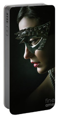 Portable Battery Charger featuring the photograph Silver Spike Eye Mask by Dimitar Hristov