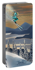 Portable Battery Charger featuring the painting Silver Star Ski Poster by Sassan Filsoof