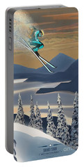 Silver Star Ski Poster Portable Battery Charger