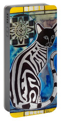 Silver Tabby With Mandala - Cat Art By Dora Hathazi Mendes Portable Battery Charger by Dora Hathazi Mendes