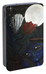Portable Battery Charger featuring the painting Similar Alien Appreciates Flowers By The Light Of The Full Moon. by Similar Alien
