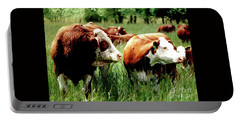 Portable Battery Charger featuring the photograph Simmental Bull And Hereford Cow by Larry Campbell