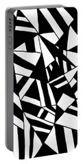 Simply Black And White Painting Portable Battery Charger by Gabriella Weninger - David