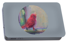 Portable Battery Charger featuring the painting Sing Little Bird by Mary Wolf