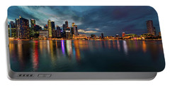 Singapore City Skyline At Evening Twilight Portable Battery Charger