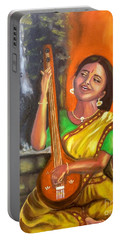 Portable Battery Charger featuring the painting Singing @ Sunrise  by Brindha Naveen
