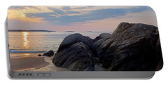 Singing Beach Rocky Sunrise Manchester By The Sea Ma Portable Battery Charger