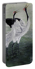 Portable Battery Charger featuring the painting Singing Cranes by Judy Kirouac
