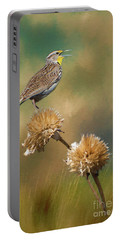 Singing Meadowlark Portable Battery Charger by Priscilla Burgers