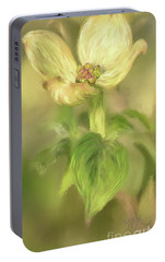 Portable Battery Charger featuring the digital art Single Dogwood Blossom In Evening Light by Lois Bryan