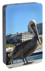 Portable Battery Charger featuring the photograph Single Pelican On The Pier by Bonnie Muir