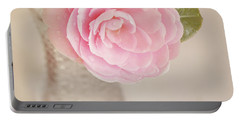 Portable Battery Charger featuring the photograph Single Pink Camelia Flower In Clear Vase by Lyn Randle