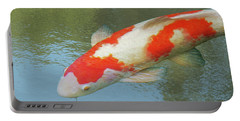 Portable Battery Charger featuring the photograph Single Red And White Koi by Gill Billington