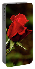 Single Red Rose Bud Portable Battery Charger by Jacqi Elmslie