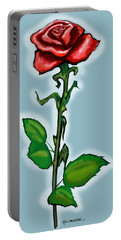 Single Red Rose Portable Battery Charger by Kevin Middleton