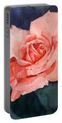 Watercolor Of A Magic Bright Single Red Rose Portable Battery Charger