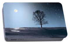 Portable Battery Charger featuring the photograph Single Tree In Moonlight by Larry Landolfi