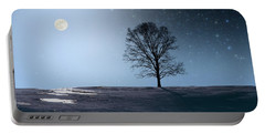 Single Tree In Moonlight Portable Battery Charger