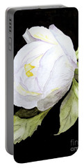 Single White  Bloom  Portable Battery Charger
