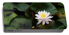 Single White Pristine Lotus Lily Portable Battery Charger