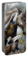 Portable Battery Charger featuring the painting Sioux War Pony by Barbie Batson