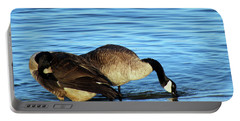 Sipping And Preening On The Beach Portable Battery Charger