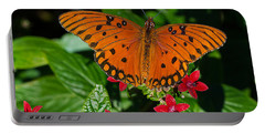 Sipping Gulf Fritillary Portable Battery Charger by Kenneth Albin