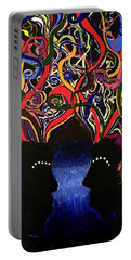 Sis The Twins - Abstract Silhouette Painting - Sisterhood - Abstract Painting  Portable Battery Charger