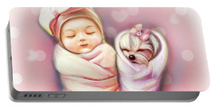 Portable Battery Charger featuring the painting Sisters Nap Time by Catia Lee