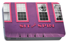 Portable Battery Charger featuring the mixed media Sit And Spin Laundromat Purple- By Linda Woods by Linda Woods