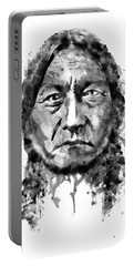 Portable Battery Charger featuring the mixed media Sitting Bull Black And White by Marian Voicu