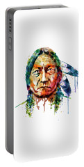 Sitting Bull Watercolor Painting Portable Battery Charger by Marian Voicu