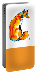 Portable Battery Charger featuring the painting Sitting Fox by Zaira Dzhaubaeva