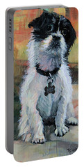 Sitting Pretty - Black And White Puppy Portable Battery Charger