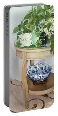 Portable Battery Charger featuring the painting Sitting Pretty by Marlene Book