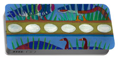 Portable Battery Charger featuring the painting Six Geese-a-layin by Denise Weaver Ross