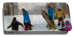 Six Sledders In The Snow Portable Battery Charger
