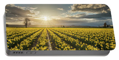 Portable Battery Charger featuring the photograph Skagit Daffodils Bright Sunstar Dusk by Mike Reid