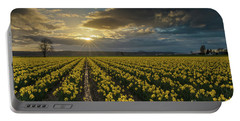 Portable Battery Charger featuring the photograph Skagit Daffodils Golden Sunstar Evening by Mike Reid