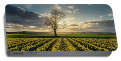 Portable Battery Charger featuring the photograph Skagit Daffodils Lone Tree  by Mike Reid