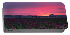 Portable Battery Charger featuring the photograph Skagit Valley Burning Skies by Mike Reid