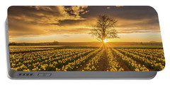 Portable Battery Charger featuring the photograph Skagit Valley Daffodils Sunset by Mike Reid