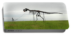 Skeletal Man Walking His Dinosaur Statue Portable Battery Charger