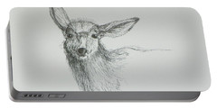 Sketch Of A Mule Deer Doe Portable Battery Charger by Dawn Senior-Trask
