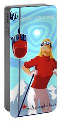 Ski Bunny Retro Ski Poster Portable Battery Charger