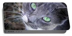 Skitty Green Eyes Portable Battery Charger by Cheryl McClure