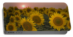 Skn 2178 The Sunflowers At Sunset  Portable Battery Charger by Sunil Kapadia