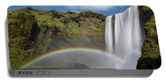 Portable Battery Charger featuring the photograph Skogafoss And Companion Rainbow by Rikk Flohr