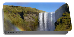 Skogafoss Waterfall With Rainbow 151 Portable Battery Charger